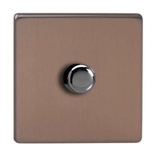 Varilight JDYP401S.BZ Screwless Brushed Bronze 1 Gang 2-Way Push-On/Off LED Dimmer 0-120W V-Pro